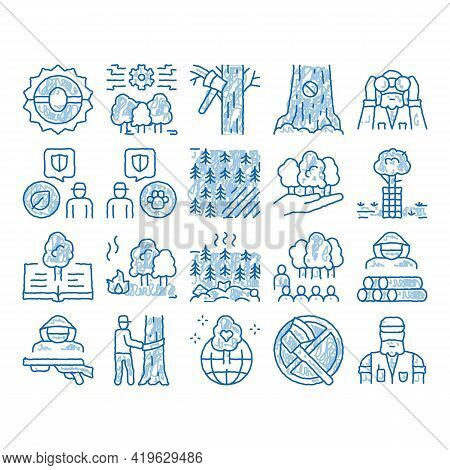 Forestry Lumberjack Sketch Icon Vector. Hand Drawn Blue Doodle Line Art Forestry Working Equipment A