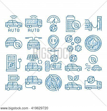 Electric Car Transport Sketch Icon Vector. Hand Drawn Blue Doodle Line Art Electrical Car And Truck,