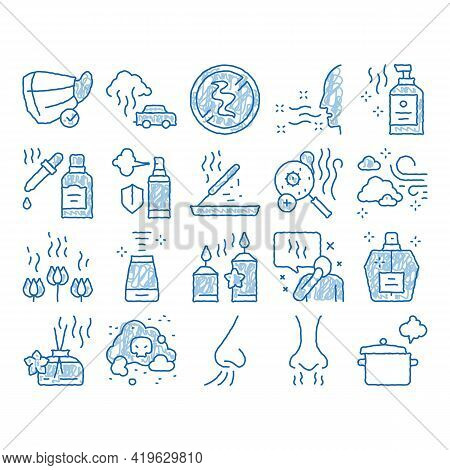 Odor Aroma And Smell Sketch Icon Vector. Hand Drawn Blue Doodle Line Art Nose Breathing Aromatic Odo