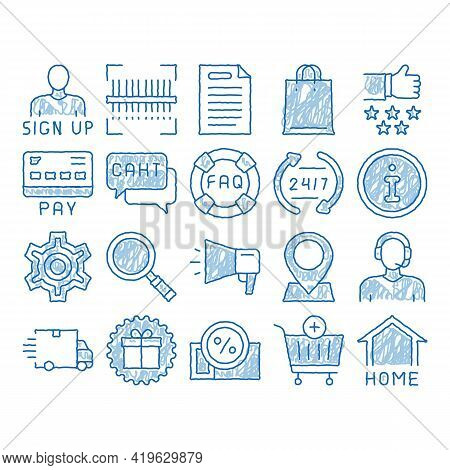 Webshop Internet Store Sketch Icon Vector. Hand Drawn Blue Doodle Line Art Webshop Online Shop Coupo