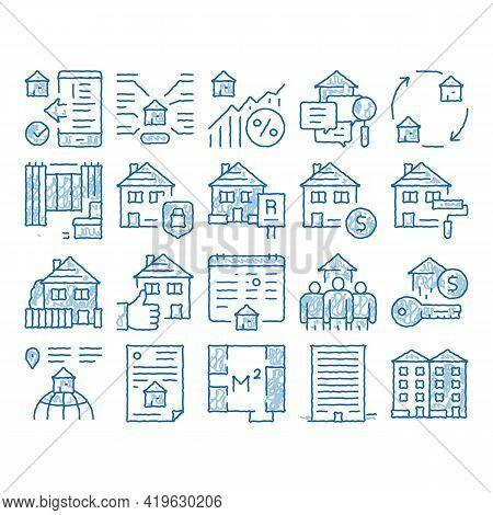 Apartment Building Sketch Icon Vector. Hand Drawn Blue Doodle Line Art Apartment Floor Plan Architec