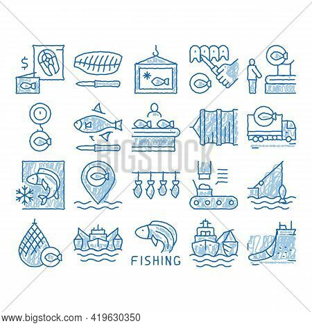 Fishing Industry Business Process Sketch Icon Vector. Hand Drawn Blue Doodle Line Art Fishing Indust