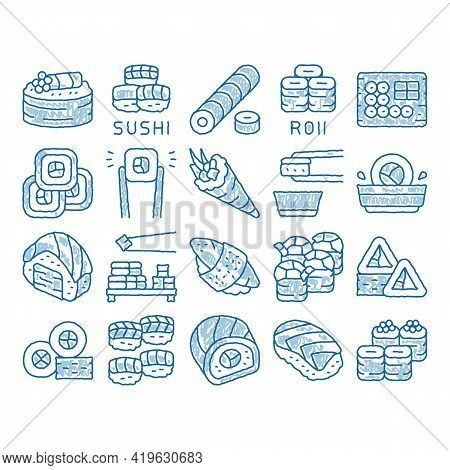 Sushi Roll Asian Dish Sketch Icon Vector. Hand Drawn Blue Doodle Line Art Sushi Roll Set Japanese Tr