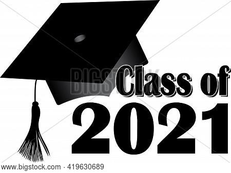 Black And White Class Of 2021 Graduation Cap Banner