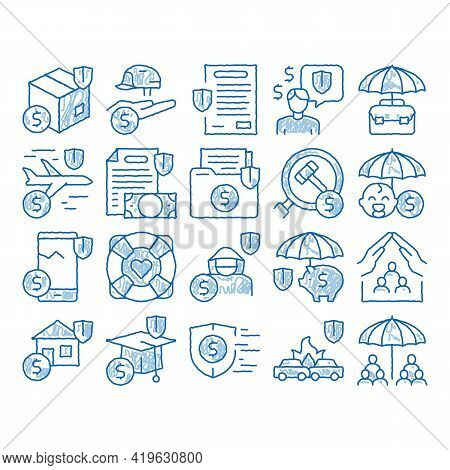 Insurance All-purpose Sketch Icon Vector. Hand Drawn Blue Doodle Line Art Insurance Agreement For Pr
