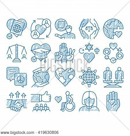 Tolerance And Equality Sketch Icon Vector. Hand Drawn Blue Doodle Line Art Tolerance For Different R