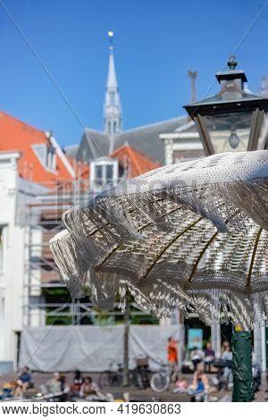White Parasol With Tower Of Hooglandsekerk, Leiden, Netherlands