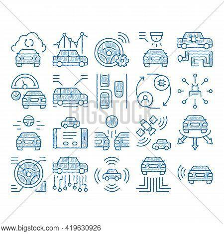 Smart Car Technology Sketch Icon Vector. Hand Drawn Blue Doodle Line Art Smart Car Autopilot And Hel