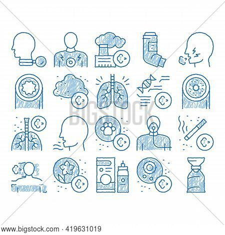 Asthma Sick Allergen Sketch Icon Vector. Hand Drawn Blue Doodle Line Art Asthma Allergy On Animal An