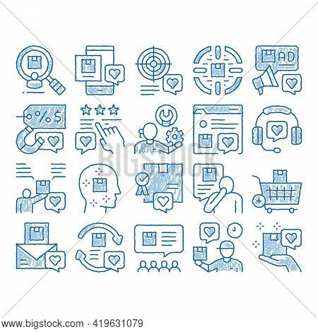 Buyer Customer Journey Sketch Icon Vector. Hand Drawn Blue Doodle Line Art. Customer Research And Wa