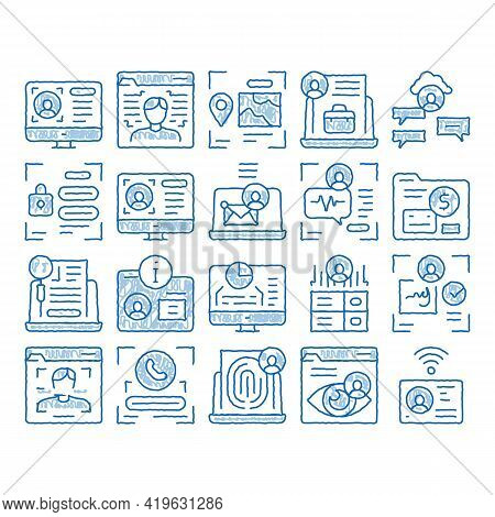 Digital Identity User Sketch Icon Vector. Hand Drawn Blue Doodle Line Art Electronic Signature And F