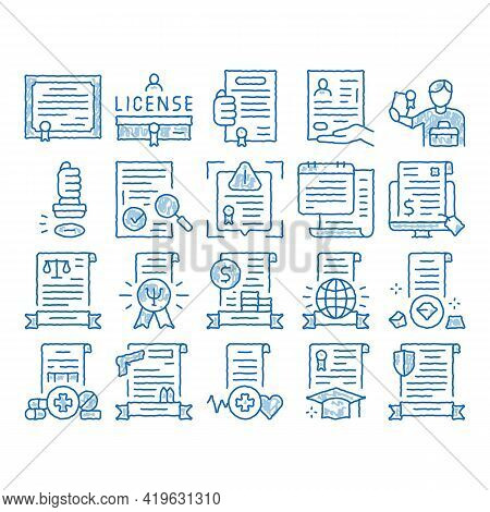 License Certificate Sketch Icon Vector. Hand Drawn Blue Doodle Line Art Pharmaceutical And Medical L