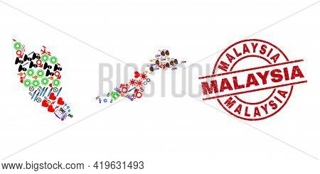 Malaysia Map Collage And Scratched Malaysia Red Round Seal. Malaysia Stamp Uses Vector Lines And Arc