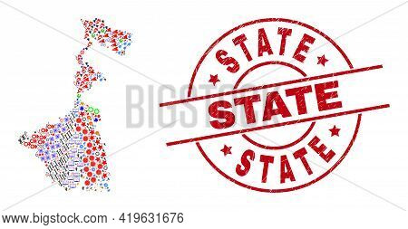 West Bengal State Map Mosaic And Distress State Red Circle Stamp. State Stamp Uses Vector Lines And