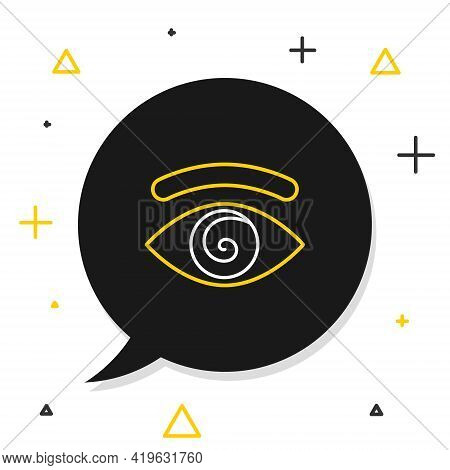 Line Hypnosis Icon Isolated On White Background. Human Eye With Spiral Hypnotic Iris. Colorful Outli
