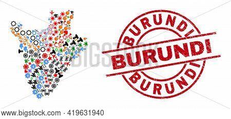 Burundi Map Mosaic And Rubber Burundi Red Round Seal. Burundi Seal Uses Vector Lines And Arcs. Burun