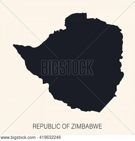 Highly Detailed Zimbabwe Map With Borders Isolated On Background. Flat Style