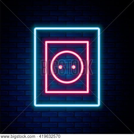 Glowing Neon Line Electrical Outlet Icon Isolated On Brick Wall Background. Power Socket. Rosette Sy