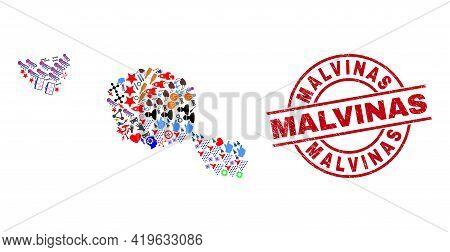 Tahiti And Moorea Islands Map Mosaic And Unclean Malvinas Red Round Seal. Malvinas Seal Uses Vector