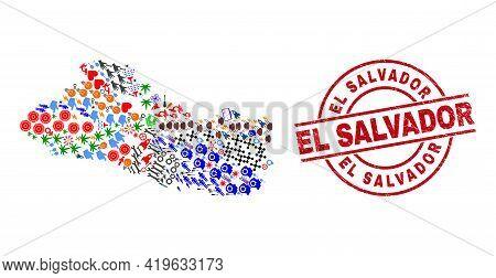 El Salvador Map Collage And Scratched El Salvador Red Round Stamp Print. El Salvador Badge Uses Vect