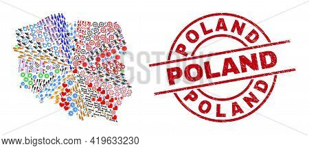 Poland Map Mosaic And Grunge Poland Red Circle Stamp Seal. Poland Badge Uses Vector Lines And Arcs.