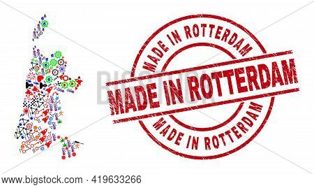 North Holland Map Mosaic And Rubber Made In Rotterdam Red Round Stamp Imitation. Made In Rotterdam S