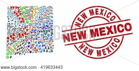 New Mexico State Map Collage And Distress New Mexico Red Circle Seal. New Mexico Seal Uses Vector Li
