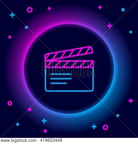 Glowing Neon Line Movie Clapper Icon Isolated On Black Background. Film Clapper Board. Clapperboard