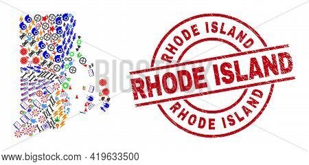 Rhode Island State Map Collage And Rhode Island Red Circle Stamp Print. Rhode Island Stamp Uses Vect