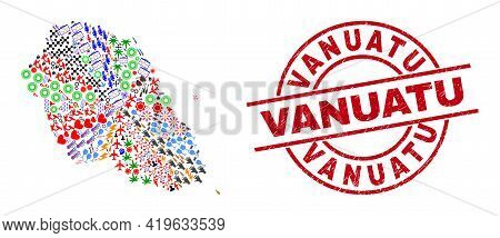Graciosa Island Map Mosaic And Grunge Vanuatu Red Circle Stamp Seal. Vanuatu Seal Uses Vector Lines