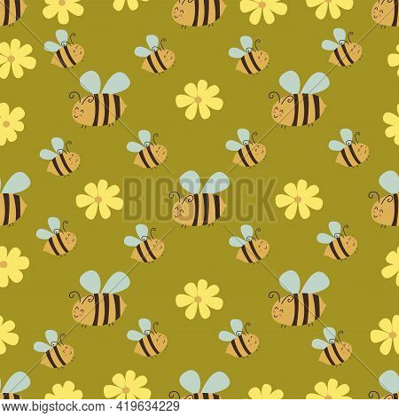 Seamless Pattern With Chamomile And Happy Bees. Vector Daisy Illustration Hand Drawn. Wrapping, Summ