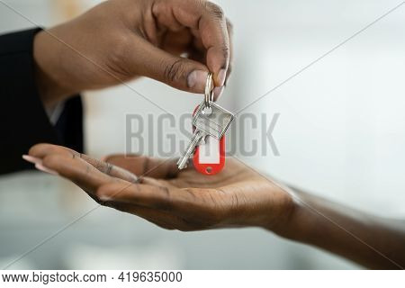 Real Estate House Key Handover By Agent