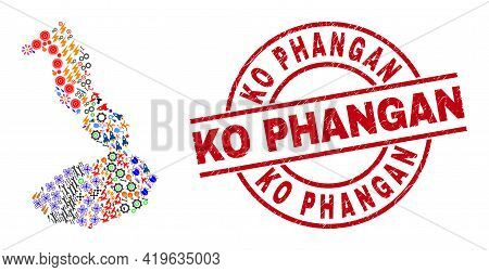 Isabela Island Of Galapagos Map Collage And Unclean Ko Phangan Red Circle Stamp Seal. Ko Phangan Sta