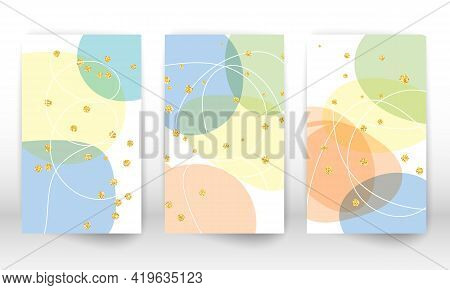 Watercolor Effect Design Cover. Abstract Hand Drawn Geometric Shapes. Doodle Lines, Golden Particles