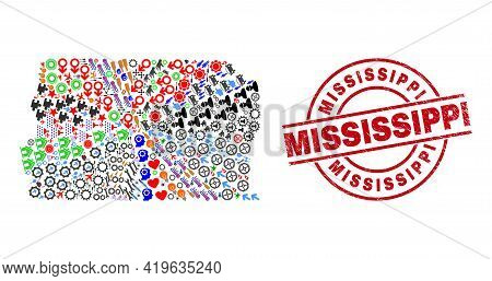 Brazil Distrito Federal Map Collage And Mississippi Red Round Seal. Mississippi Seal Uses Vector Lin