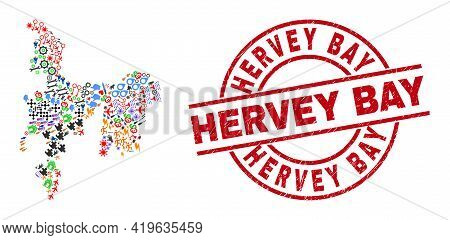 Hamilton Island Map Collage And Rubber Hervey Bay Red Circle Watermark. Hervey Bay Badge Uses Vector