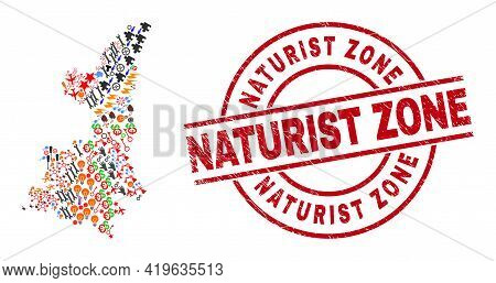 Shaanxi Province Map Collage And Naturist Zone Red Circle Badge. Naturist Zone Badge Uses Vector Lin