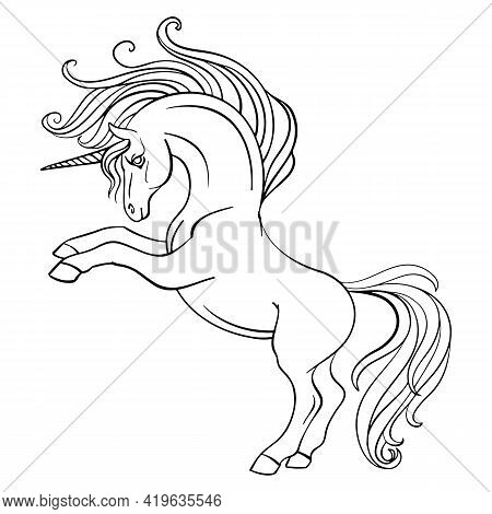 Little Unicorn With A Long Mane And Tail. Vector Black And White Illustration For Coloring Page. For