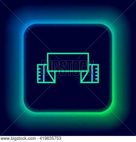 Glowing Neon Line Traditional Ukrainian Embroidered Towel Icon Isolated On Black Background. Colorfu