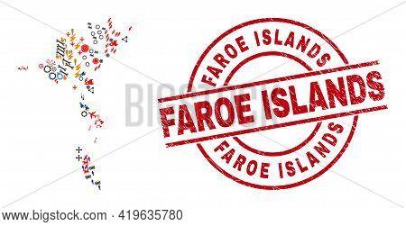 Faroe Islands Map Collage And Distress Faroe Islands Red Circle Stamp Print. Faroe Islands Stamp Use
