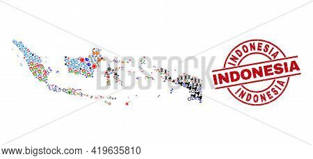 Indonesia Map Mosaic And Grunge Indonesia Red Round Stamp Seal. Indonesia Seal Uses Vector Lines And