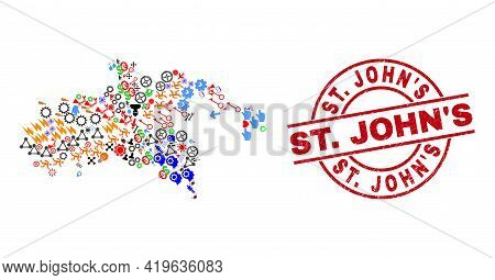Saint John Island Map Mosaic And Scratched St. Johns Red Circle Badge. St. Johns Badge Uses Vector L
