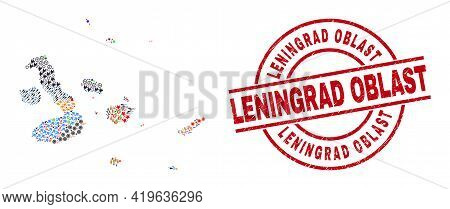 Galapagos Islands Map Collage And Grunge Leningrad Oblast Red Circle Stamp Seal. Leningrad Oblast St