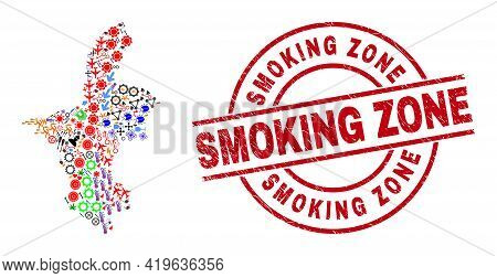 Ningxia Hui Region Map Mosaic And Unclean Smoking Zone Red Round Stamp. Smoking Zone Seal Uses Vecto