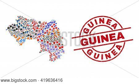 Republic Of Guinea Map Mosaic And Scratched Guinea Red Round Stamp Print. Guinea Stamp Uses Vector L
