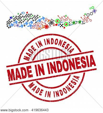Flores Island Of Indonesia Map Mosaic And Textured Made In Indonesia Red Round Watermark. Made In In