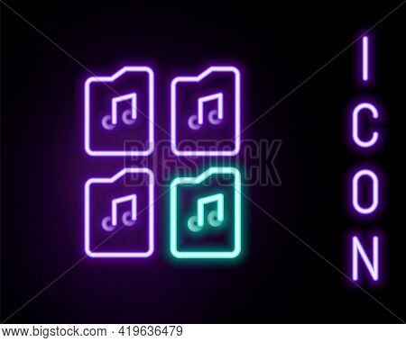 Glowing Neon Line Music File Document Icon Isolated On Black Background. Waveform Audio File Format