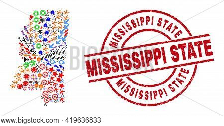 Mississippi State Map Mosaic And Textured Mississippi State Red Circle Stamp Seal. Mississippi State