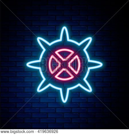 Glowing Neon Line Bicycle Sprocket Crank Icon Isolated On Brick Wall Background. Colorful Outline Co