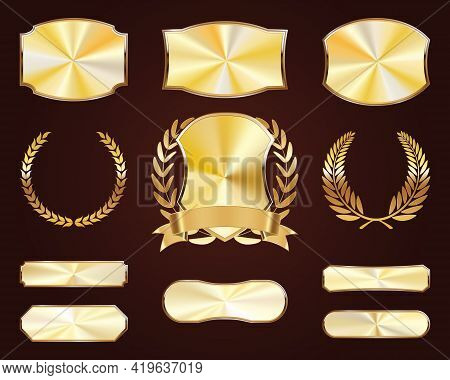 Set Of Golden Shields. Luxury Gold Labels. Glossy Metal Badges. Collection Of Seals, Laurel.